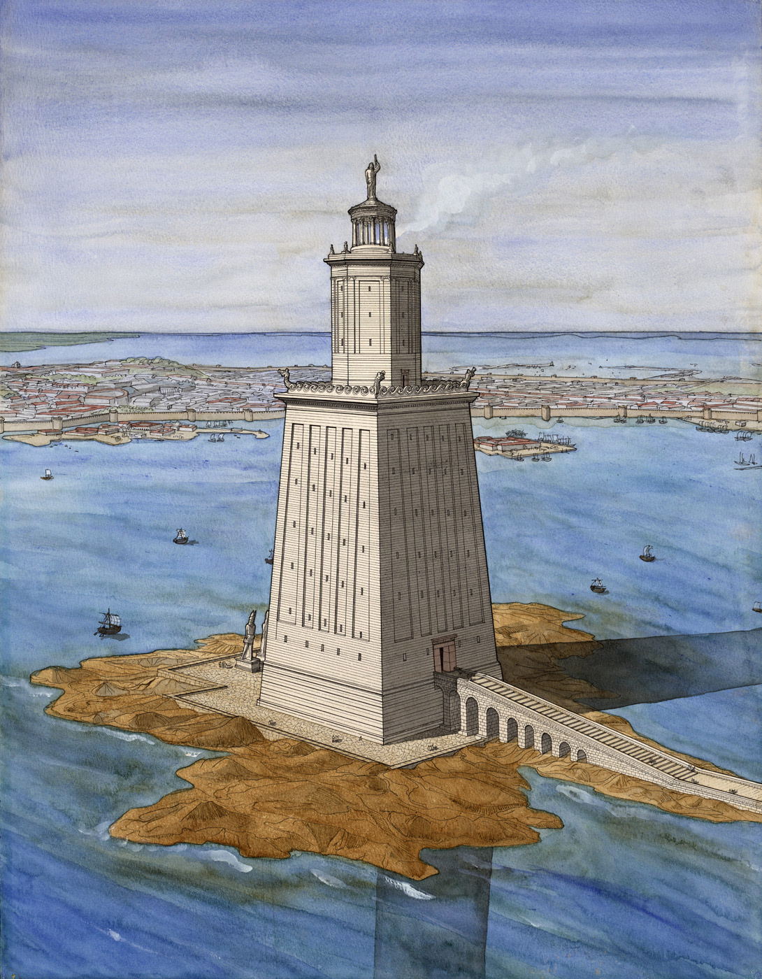 the pharos lighthouse of alexandria essay The lighthouse of alexandria, also known as the pharos of alexandria was almost 400ft tall which, in its day, made it the tallest man-made structure on earth, which cast a light from its giant bronze mirror could be seen over 35 miles offshore the idea of a lighthouse was apparently concieved by.